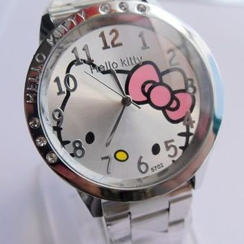 hot sales Fashion Women stainless steel Watch Girls Hello Kitty quartz Watch for Cartoon Watches