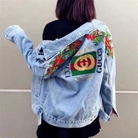 Gucci Fashion Flower Rose Embroidery Denim Jacket Coat