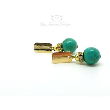 Turquoise gold plated earrings, turquoise earrings studs