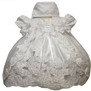 Baby Girl Toddler Christening Baptism Dress Gowns outfit set with bonnet /XS/S/M/L/XL/0-3M/3-6M/6-12M/12-18M/18-24M/XSMALL/SMALL/MEDIUM/LARGE/XL/2t/#5444