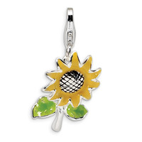 Sterling Silver 3-D Enameled Sunflower w/Lobster Clasp Charm