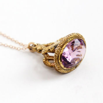 Antique Edwardian Simulated Amethyst Fob Necklace - Rosy Yellow Gold Filled Victorian Early 1900s Filigree Charm Pendant Jewelry