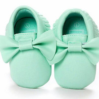 Baby Girl Moccasins, Mint Bow Baby Moccasins, Toddler Moccasins, Toddler Shoes, Moccasins, Vegan Soft Sole,