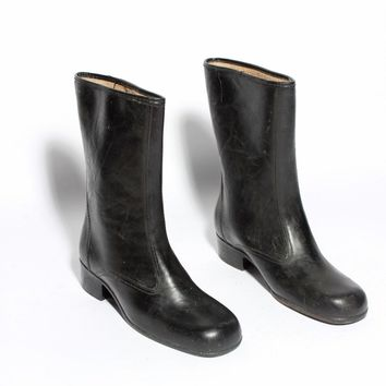 Lined Black Rainboots / Size 8