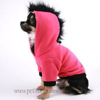 Dog Coat Hot Pink and black fleece Mohawk Hoodie sz XS