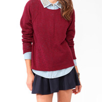 High-Low Slub Knit Sweater