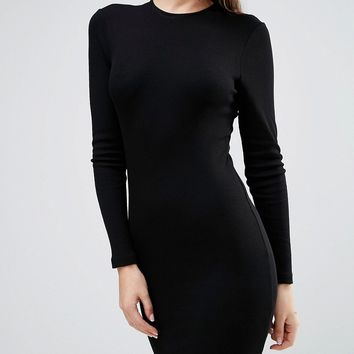 ASOS Mini Bodycon Dress in Rib with Long Sleeves at asos.com