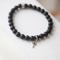 Mens cross Bracelet -Black onyx  Beaded Bracelet with cross  - Matt Onyx