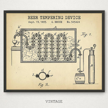 Beer Wall Art, Beer Tempering Device Patent, Beer Poster Printable, Digital Download, Beer Gallery Wall, Beer Gifts, Man Cave Decor, Brewery
