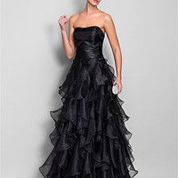 A-line Sweetheart Floor-length Organza And Stretch Satin Evening/Prom Dress (663685)