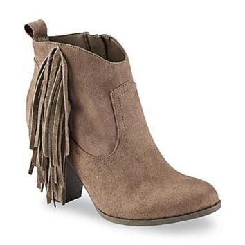 Bongo Women's Willow Taupe Fringe Western Ankle Boot