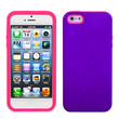 For Apple iPhone 5 HARD Hybrid Rubber Silicone Case Phone Cover Purple Pink