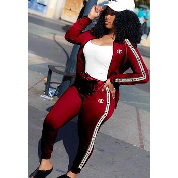 Champion Fashion Women High Collar Long Sleeve Top Pants Two-Piece Burgundy