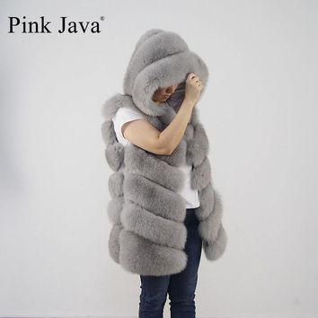 pink java QC8056 FREE SHIPPING New arrival full pelt real fox fur hoodie vest  high quality thick fox fur gilet  fashion girl's