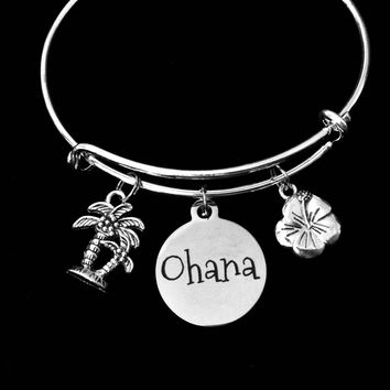 Ohana Family Hibiscus Flower Silver Expandable Charm Bracelet Palm Tree  Adjustable Bangle Gift