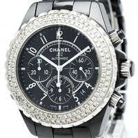CHANEL J12 Chronograph Ceramic Automatic Black dial H0940 Used Wristwatch