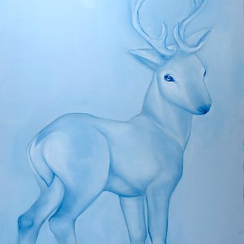 Young Buck with Knee Socks - gallery stretched canvas, blue deer painting by McKenzie Fisk