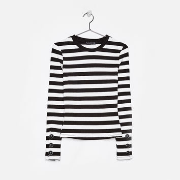 Sweater with buttons on the sleeves - Tees - Bershka United States