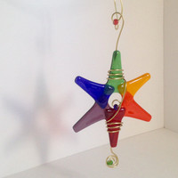 Rainbow Star Glass Ornament - LGBT ornament - Christmas Star