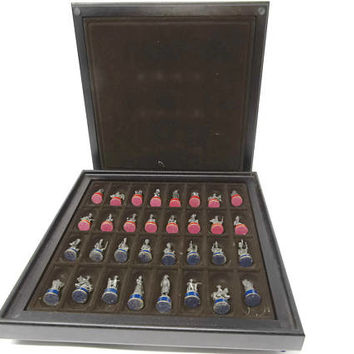 Rare Battle of Waterloo Chess Set / Franklin Mint 1984 The Waterloo Museum / Collectors Chess Set / Gift for Dad / Library Decor