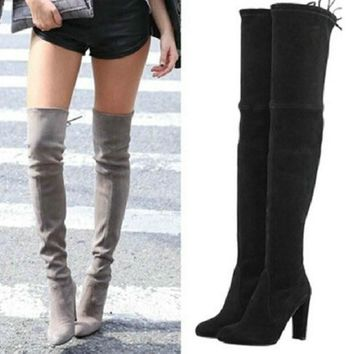 Womens Stretch Suede Over the Knee Boots Sexy Fashion Slim Thigh High Boots Chunky Hee