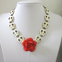 White Skull Necklace Day of the Dead Red Rose Sugar Skull Day of the Dead Necklace Rockabilly Jewelry