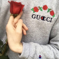 GUCCI : Hot long flower rose print champion sweater grey hoodie pullover sweatershirt