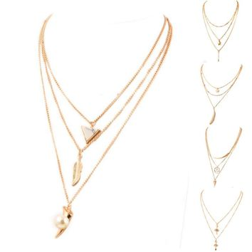 2015 Winter Hot Fashion gold-color Fatima Hand 3 Layer Chain Bar Necklace Beads and Long Strip Pendant Necklaces Jewelry JHS049
