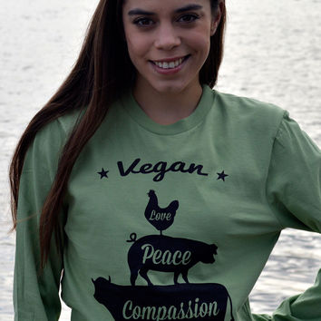 Vegan: Love, Peace, Compassion Unisex Long Sleeve T-Shirt