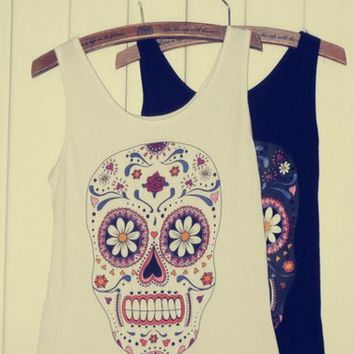 White Color Vest with Skull and Floral Pattern [628]
