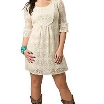 Young Essence® Women's Beige 3/4 Sleeve Lace Dress