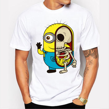 Summer 2016 Fashion Minions Skull Printed Men T-shirt Funny Tops Tees Shirts Man Hipster Cool T Shirts Adult Camisetas Euro Size