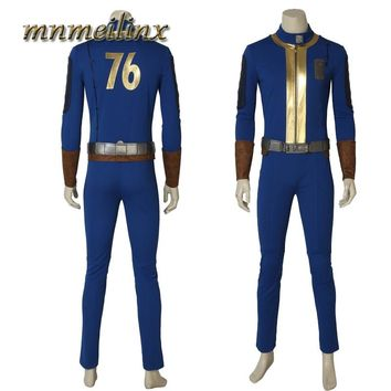 Popular Fallout 4 Fallout 76 Vault 76 PC Game Cospaly Costume Sole Survivor Suit Jumpsuit Outfit Halloween Cosplay Custom Made