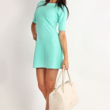Plain Half Sleeve Round Neck Dress