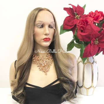 "Dark Blond to Ash Brown Balayage Ombre SWISS Brazilian Full Lace Wig | 22""  Ricarda"
