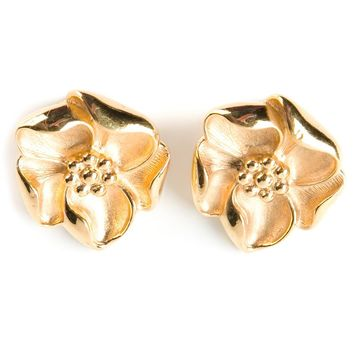 Lanvin Vintage flower clip-on earrings