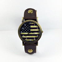 US Flag Watch, American flag, Retro Leather Watch, Mens Watch, Women Watches, Unisex Watch, Boyfriend Watch, brown
