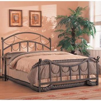 Coaster Queen Size Iron Bed In Brass