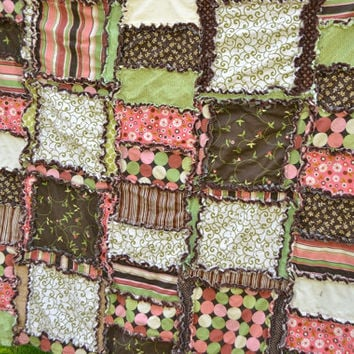 Baby Rag Quilt Crib or Toddlerl Bed Size in Brown, Green, and Pink, Ready to Ship