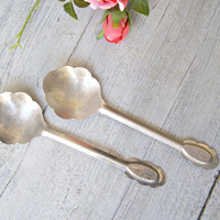 Mid century Salad Serving Spoon Pair, Silver Plated Soviet minimalist Spoons, Retro Collectible Cutlery Flatware, Wedding Newlywed Chef Gift