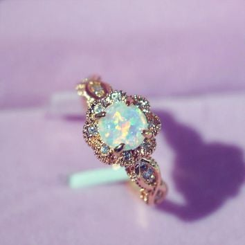 STYLEDOME Rose Gold Flower Shape Women Opal Finger Rings