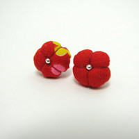 Red plush pillow fabric post stud earrings
