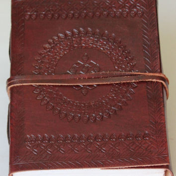 Embossed Leather Journal Diary - Classic Handmade Book with Leather Strap Closure