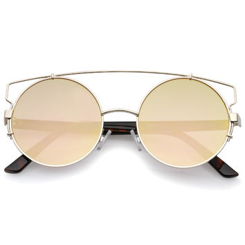 Retro Modern Round Cross Bar Mirrored Lens Sunglasses A543
