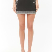 Embroidered Faux Suede Mini Skirt