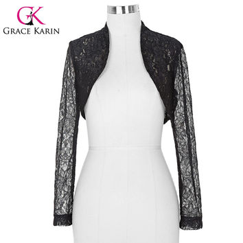 Belle Poque Stock Womens Ladies Long Sleeve Cropped Shrug White Black Lace Bolero Wedding Accessories Plus Size Jacket BP000049
