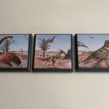 Dinosaurs Room Wall Plaques - Set of 3 Dinosaur Boys Room Decor - Dinosaur Room Signs