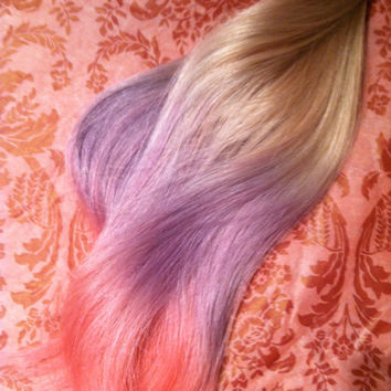 "Ombre Tape Hair Extensions, My LIttle Pony Ombre, Medium Blonde hair with cotton candy purple and pink, Hair Extensions, 14"", 40 Pieces"
