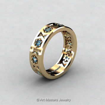 Womens Modern 14K Yellow Gold Blue Topaz Formal Wedding Band R535F-14KYGBT