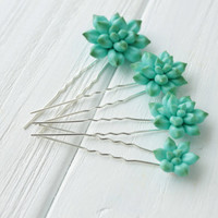 Blue Succulent Hair Pins Blue Hairpin Polymer Clay Succulent Bobby Pins Hair Decoration Hair Accessory Gifts For Women handmade decoration